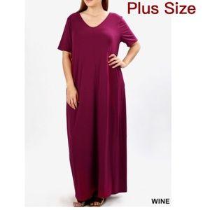 Dresses & Skirts - 🅿️ Wine Maxi Dress. Sz: 1x & 2x& 3x